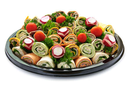 party tray: Isolated platter of assorted meat tortilla wraps