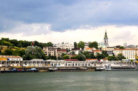 View of Belgrade city from Danube river photo