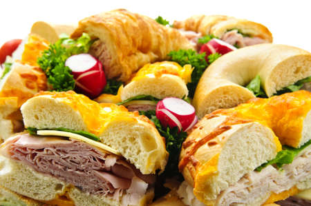 bagel: Assorted platter of sandwiches with meat and vegetables Stock Photo