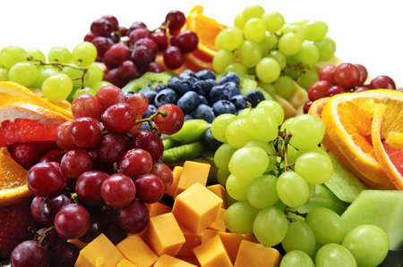 serving tray: Platter of assorted fresh fruit and cheese Stock Photo