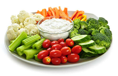 serving tray: Platter of assorted fresh vegetables with dip