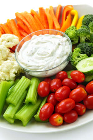 veggie tray: Platter of assorted fresh vegetables with dip