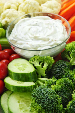 Platter of assorted fresh vegetables with dip Stock Photo - 5395584