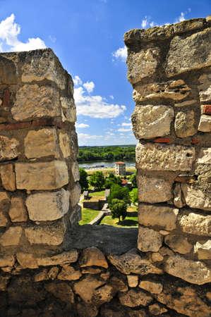 Walls and towers of Kalemegdan fortress in Belgrade Serbia