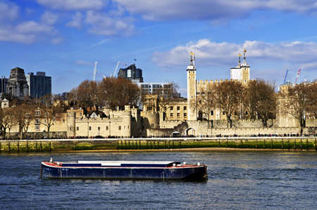 britannia: Tower of London skyline  view from Thames river