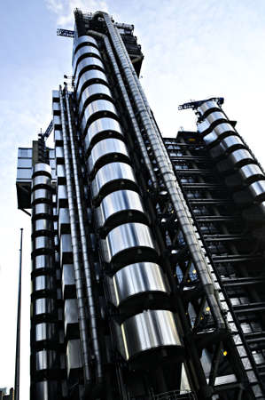 Futuristic steel Lloyds building in London England photo