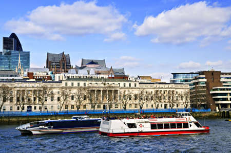 London skyline view from Thames river against blue sky Stock Photo - 5560223