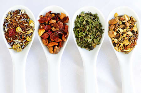 rooibos tea: Herbal wellness dried tea in four spoons