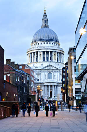 st pauls: View of St. Pauls Cathedral in London from street at dusk Stock Photo