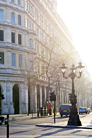 View of London street in early morning light