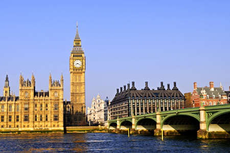 ben: Big Ben and Westminster Bridge in London Stock Photo