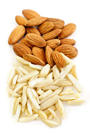 almond: Whole and slivered raw almonds in a pile on white background