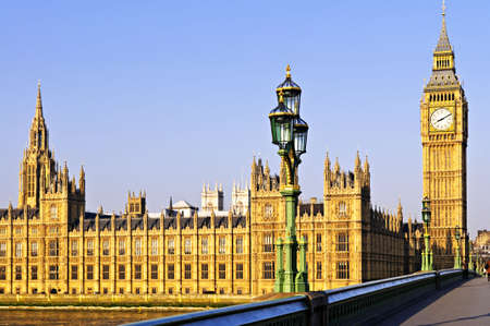 large house: Houses of Parliament with Big Ben in London from Westminster Bridge