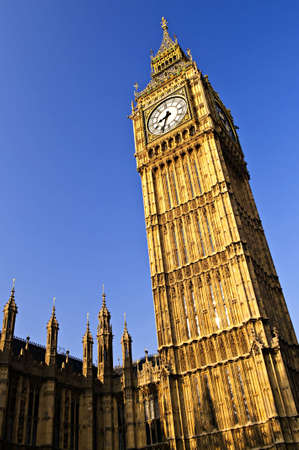 Big Ben clock tower and Houses of Parliament in London photo