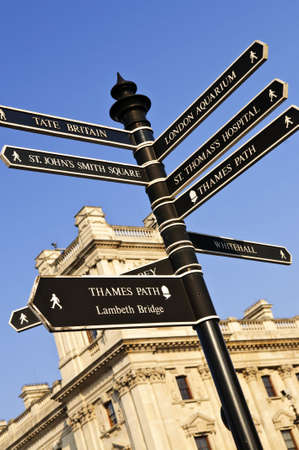 post: Signpost in Westminster London showing various attractions