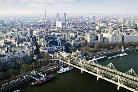 london eye: Hungerford bridge seen from London Eye in England