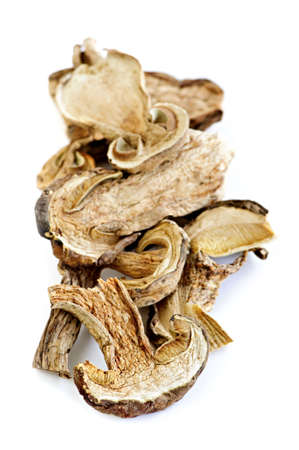 Dried sliced porcini mushrooms isolated on white background