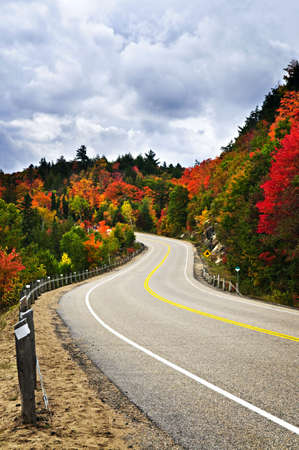 Fall scenic highway in northern Ontario, Canada photo