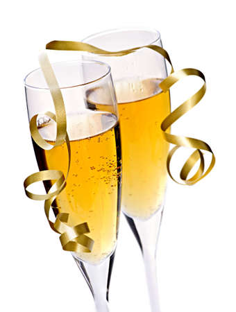 gold flute: Two full champagne flutes with sparkling wine and ribbon isolated Stock Photo