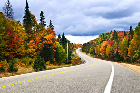 curvy: Fall scenic highway in northern Ontario, Canada Stock Photo