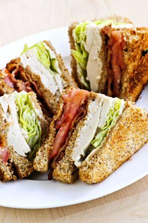 Geroosterde club sandwich gesneden op een plaat  Stockfoto