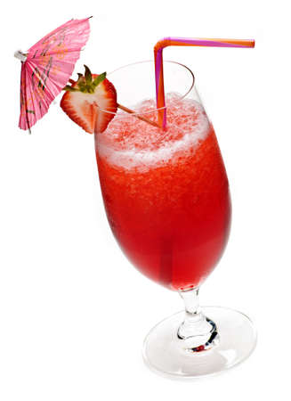 toothpick: Strawberry daiquiri in glass isolated on white background with umbrella