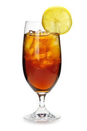 iced tea: Glass of cold iced tea with ice and lemon Stock Photo