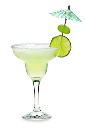 margarita: Margarita in glass with lime isolated on white background Stock Photo