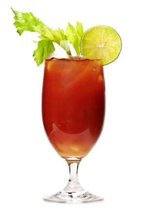 Bloody mary in glass isolated on white background with celery stalk photo