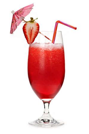 daiquiri alcohol: Strawberry daiquiri in glass isolated on white background with umbrella