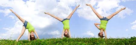 Samengestelde afbeelding van jonge tiener meisje doen cartwheel in een zomer meadow