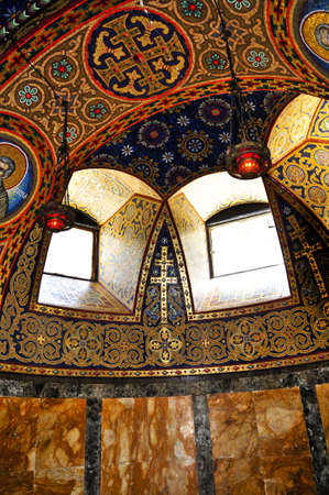 Interior of orthodox christian St. George church in Topola, Serbia