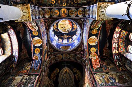 serbia: Interior of orthodox christian St. George church in Topola, Serbia
