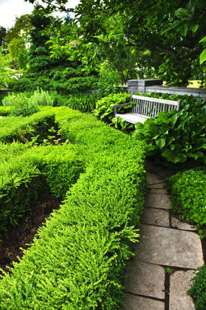 Lush green garden with stone landscaping, hedge, path and bench photo