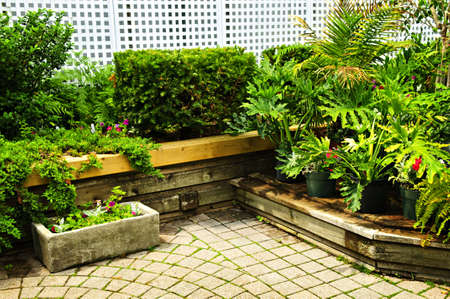 planters: Lush green garden with stone landscaping, hedge and flowers