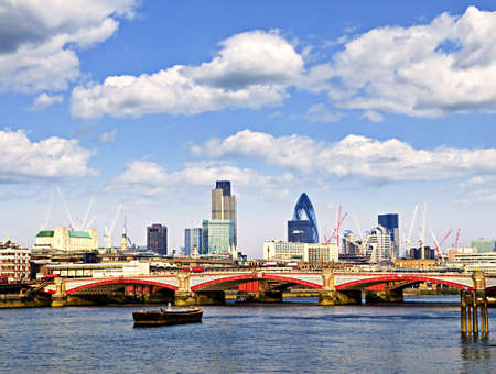 blackfriars bridge: Blackfriars Bridge with London skyline behind from Thames river