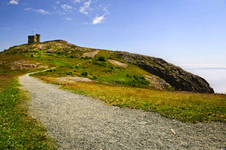 long johns: Long gravel path to Cabot Tower on Signal Hill in Saint Johns, Newfoundland Stock Photo