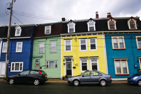 nfld: Colorful houses in St. Johns, Newfoundland, Canada Stock Photo