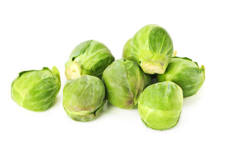 Bunch of green brussels sprouts isolated on white background
