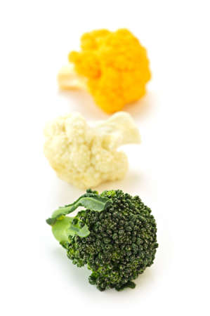 Broccoli and cauliflower isolated on white background photo