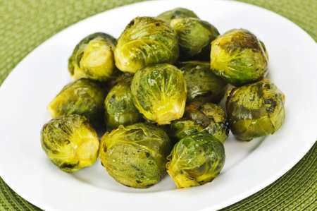 placemat: Plate of roasted green brussels sprouts on placemat