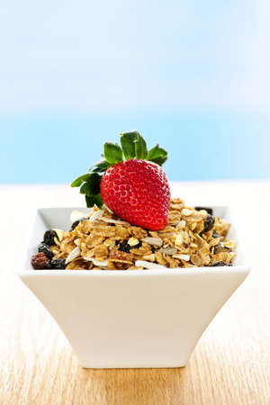 Bowl of granola cereal with fresh strawberry photo