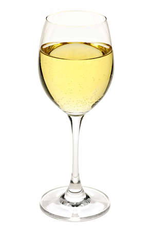 White wine beverage in crystal wineglass isolated