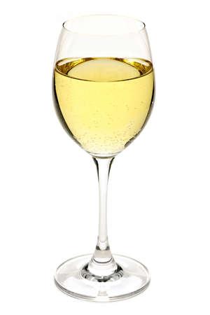 Witte wijn dranken in crystal wineglass geïsoleerd Stockfoto