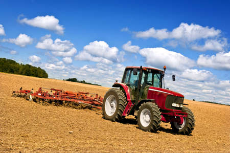 m�quina: Agricultura de peque�a escala con tractor y arado en campo Foto de archivo
