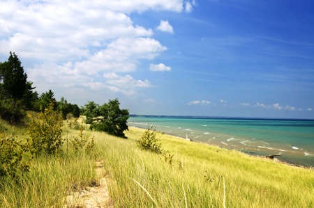 Sand dunes at beach shore. Pinery provincial park, Ontario Canada photo