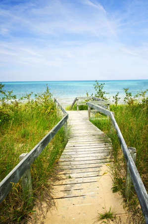 walk board: Wooden path over dunes at beach. Pinery provincial park, Ontario Canada