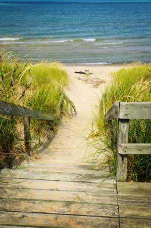 boardwalk: Wooden stairs over dunes at beach. Pinery provincial park, Ontario Canada
