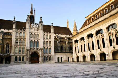 old english: Guildhall building and Art Gallery in City of London Stock Photo