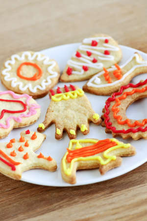 Homemade shortbread cookies with icing on a plate photo